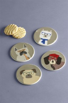 Set Of 4 Pugs And Co-Coasters