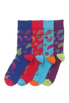 Paisley Pattern Socks Four Pack