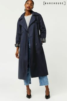 Warehouse Navy Check Lined Trench