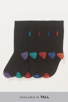 Grindle Stripe Heel And Toe Socks Five Pack