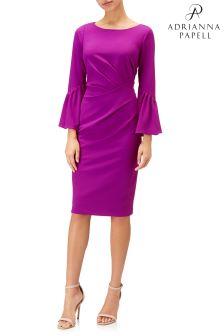 Różowa, elegancka sukienka z dzianiny, ze stójką pod szyją, Adrianna Papell