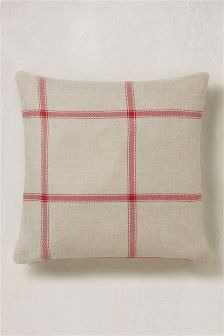 Red Window Pane Check Cushion