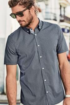 Short Sleeve Geo Print Double Collar Shirt