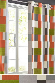 Multicoloured Block Print Eyelet Curtains Studio Collection By Next
