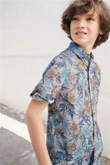 半袖フローラルプリント シャツ (3~16 歳)