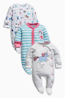 Unicorn Sleepsuits Three Pack (0mths-2yrs)