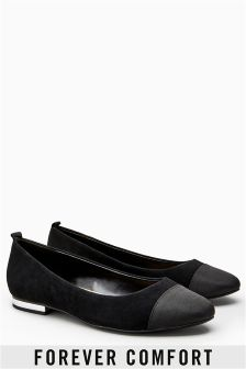 Forever Comfort Leather Toe Cap Ballerinas