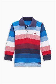 Long Sleeve Striped Poloshirt (3mths-6yrs)