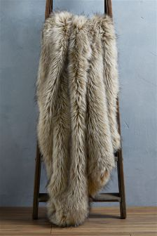 Tipped Faux Fur Throw