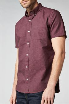 Оксфордская рубашка в мелкий горошек с короткими рукавами