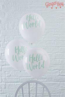 Pack Of 10 Ginger Ray Cream Hello World Balloons