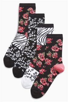 Floral Animal Pattern Ankle Socks Four Pack