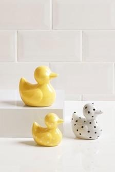 Set Of 3 Ceramic Happy Ducks