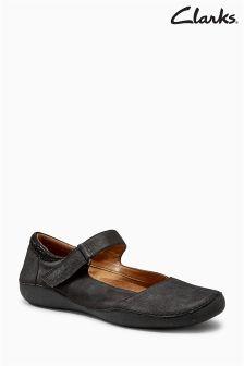 Clarks Black Nubuck Cushion Plus Mary Jane Flat Shoe