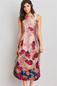 Жаккардовое платье с цветочным рисунком
