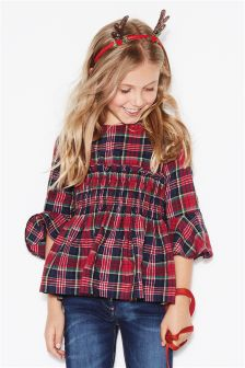 Tartan Ruched Sleeve Blouse (3-16yrs)