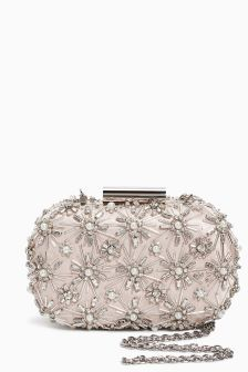 Jewelled Boxy Clutch Bag