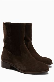 Suede Slouch Ankle Boots