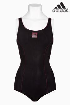 adidas Black/Pink Logo Swimsuit