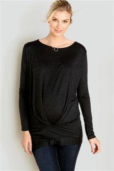 Długa, ciążowa bluzka plisowana