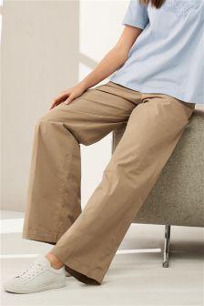 Spodnie bawełniane z szerokimi nogawkami