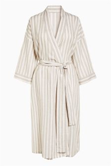 Stripe Linen Blend Robe