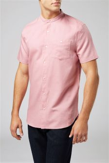 Linen Blend Short Sleeve Grandad Shirt
