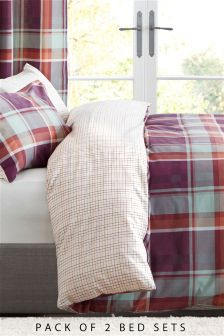 2 Pack Jardine Check Bed Set