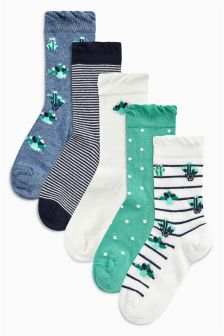 Cactus Socks Five Pack (Younger Girls)