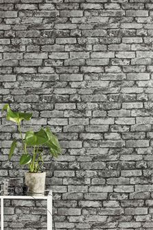 Grey Metallic Brick Wallpaper