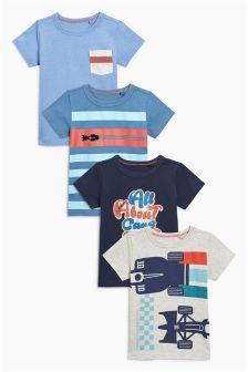 Pack de cuatro camisetas a rayas, de manga corta y con coches (3 meses-6 años)