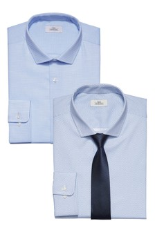 Print And Textured Slim Fit Shirts With Tie Two Pack
