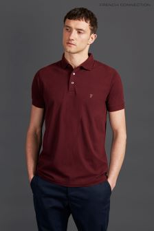 French Connection Red Short Sleeve Basic Logo Polo