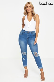 Boohoo Plus Low Rise Ripped Skinny Jeans