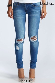 Boohoo Petite Distressed Rip Knee Skinny Jeans