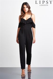 Lipsy Cold Shoulder Ruffle Jumpsuit