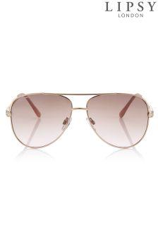 Lipsy Aviator Style Sunglasses With Diamanté Arm Detail