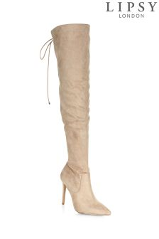 Lipsy Over The Knee Corset Boot