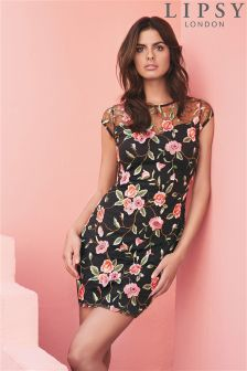 Lipsy Floral Embroidery Cap Sleeve Dress