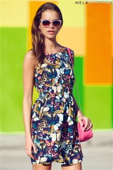Mela London Butterfly Print Zip Detail Dress
