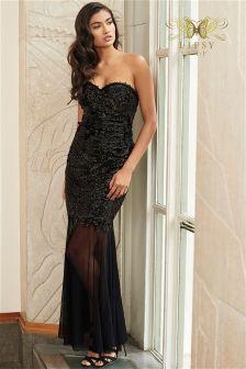 Lipsy VIP Bandeau Foil Lace Maxi Dress