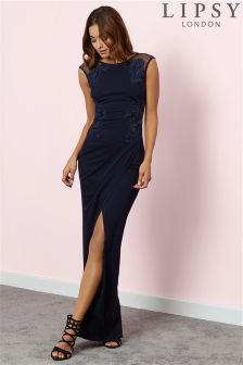 Lipsy Ruched Placed Artwork Maxi Dress