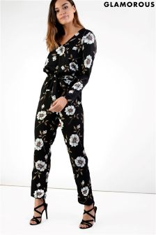 Glamorous Printed Belted Jumpsuit