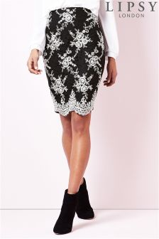 Lipsy Embroidered Pencil Skirt
