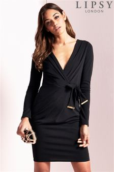 Lipsy Long Sleeve Tie Bodycon Dress