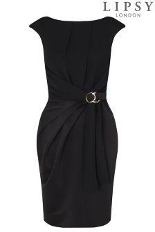 Lipsy Curve Short Sleeved Tie Waist Bodycon Dress