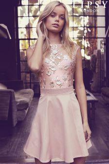 Lipsy 3D Flower Embellished Prom Dress