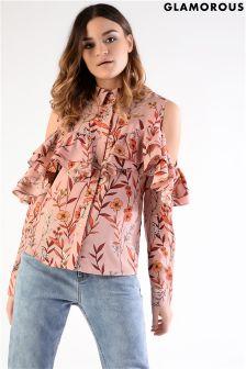 Glamorous Cold Shoulder Printed Ruffle Shirt