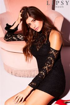 Lipsy Cold Shoulder Lace Bodycon Dress