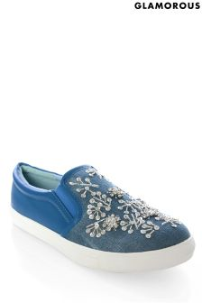 Glamorous Embellished Slip-on Denim Trainer